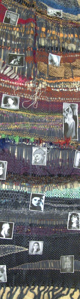 My Life Story is a weaving with images of me and my family glued to a piece of weaving.