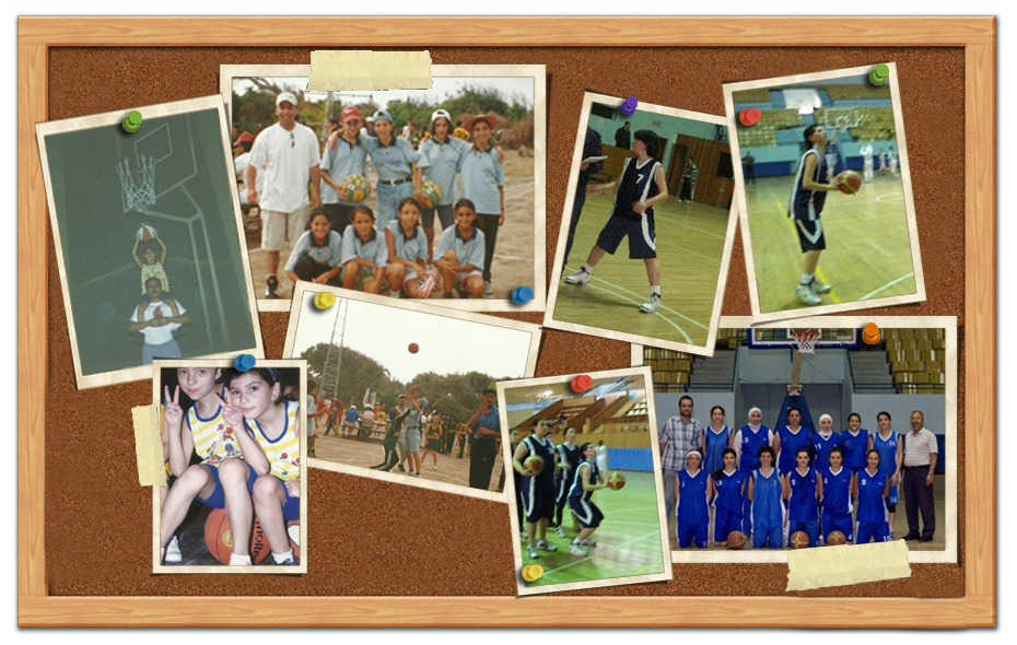 Composite image of basketball images on pinboard