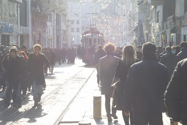 Street scene with people and tram Istiklal Istanbul